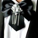 BLACK RHINESTONE TASSEL MEN KNOT WEDDING PARTY ASCOT CRAVAT BOW NECKTIE NECK TIE