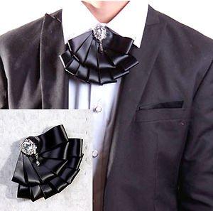 BLACK RHINESTONE GOTH MEN KNOT WEDDING PARTY ASCOT CRAVAT BOW NECKTIE NECK TIE