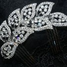 FEATHER LEAF WEDDING BRIDAL RHINESTONE CRYSTAL HAIR TIARA COMB