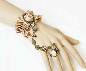 CHIFFON LACE RIBBON BRASS CUTE CHAMPAIGN SLAVE BRACELET WITH BUTTERFLY RING