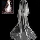 3m WEDDING BRIDAL BRIDES TULLE  OFF WHITE FLORAL LACE CATHEDRAL VEIL 1 Tier