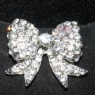 WEDDING BRIDAL BOW RHINESTONE CRYSTAL PENDANT GIFT INVITATION BROOCH PIN