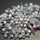 BRIDAL WEDDING CAKE HAIR CRAFT CLEAR RHINESTONE CRYSTAL BROOCH PIN