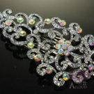 "4"" RAINBOW VICTORIAN BRIDAL WEDDING RHINESTONE CRYSTAL BROOCH PIN"