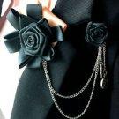 BLACK GOLD ELEGANT MEN KNOT WEDDING ASCOT CRAVAT BOW ROSE NECKTIE BROOCH