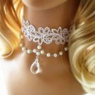 ROCOCO GOTHIC LACE WHITE CHOKER TASSEL NECKLACE/CHAIN HEADPIECE