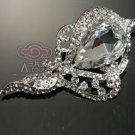 VINTAGE RHINESTONE CRYSTAL BRIDAL HAIR BUCKLE BROOCH PIN