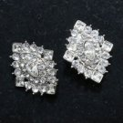 LOT OF 2 RHOMBUS RHINESTONE CRYSTAL WEDDING BRIDAL CRAFT GOWN BROOCH PIN