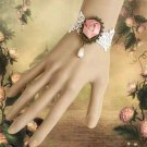 CHIFFON LACE RIBBON BRASS LACE ROSE GOTH OFF WHITE  BRACELET