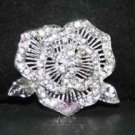 ROSE RHINESTONE CRYSTAL WEDDING BRIDAL FLOWER CAKE SILVER BROOCH PIN
