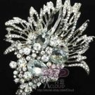 BIG BRIDAL WEDDING CAKE HAIR BOUQUET CLEAR RHINESTONE CRYSTAL BROOCH PIN