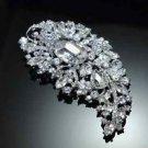 LARGE MOON VINTAGE STYLE BRIDAL WEDDING RHINESTONE CRYSTAL SASH DRESS BROOCH PIN