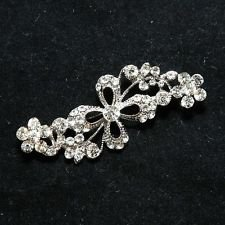 RHINESTONE CRYSTAL WEDDING BRIDAL HAIR CRAFT FLOWER LEAF BROOCH PIN