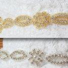 1 TRIM GOLD/SILVER RHINESTONE CRYSTAL SASH DRESS CRAFT SEW/IRON APPLIQUE