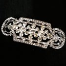 BRIDAL WEDDING RHINESTONE CRYSTAL STRAIGHT LINE VINTAGE STYLE SASH BROOCH PIN