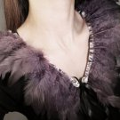 COCKTAIL WHITE/GREY FEATHER FUR NECK COLLAR RIBBON NECKLACE WRAP SCARF