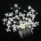 BEADED HANDMADE BRIDAL WEDDING BRIDES PEARL RHINESTONE CRYSTAL TIARA HAIR COMB