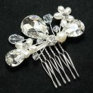 TEARDROP BRIDAL WEDDING BRIDES GIRL PEARL RHINESTONE CRYSTAL TIARA HAIR COMB