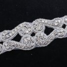 BEADED GLASS CRYSTAL RHINESTONE WEDDING SASH DRESS TRIM APPLIQUE 1/2 YARD