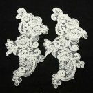 LOT OF 2 WEDDING CRAFT EMBROIDERY WHITE ROSE APPLIQUE FLOWER COUTURE PATCH
