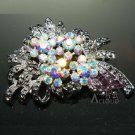 AURORA RHINESTONES CRYSTAL SILVER HAIR ACCESSORY CRAFT DRESS BROOCH PIN