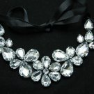 FLOWER CLEAR GLASS RHINESTONE BLACK RIBBON BIB NECKLACE COLLAR