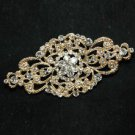 WEDDING BRIDAL RHINESTONE HAIR DRESS SASH BUCKLE GOLD RHOMBUS BROOCH PIN