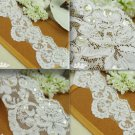 BEADED PEARL WEDDING CRAFT EMBROIDERY WHITE VEIL SEQUIN LACE TRIM 1METER