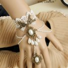HANDCRAFT WHITE LACE APPLIQUE COPPER WEDDING BRACELET GLOVES SLAVE RING