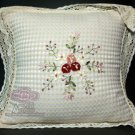 2 PIECES FLORAL EMBROIDERY ROSE VICTORIAN CUSHION PILLOW CASE COVERS