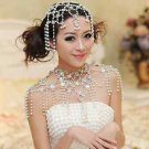 BRIDAL WEDDING RHINESTONE CRYSTAL IVORY FAUX PEARL DROPLET HAIR CHAIN HEAD CAP