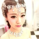 BRIDAL WEDDING CRYSTAL BRIDE DROP TASSEL HAIR CHAIN TIARA NECKLACE EARRINGS SET