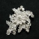LOT OF 4 RHINESTONE CRYSTAL LEAF FLORAL WEDDING BRIDAL CAKE BROOCH PIN