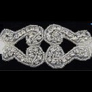 GLASS IRON/ SEW BEADED CRYSTAL RHINESTONE WEDDING EMBROIDED VINTAGE APPLIQUE
