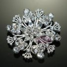 RHINESTONE CRYSTAL WEDDING CAKE BRIDAL SNOW FLOWER FLORAL BOUQUET BROOCH PIN