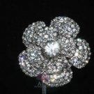CUTE FLORAL ROSE WEDDING BRIDAL RHINESTONE CRYSTAL BELT SASH DRESS BROOCH PIN