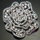 RHINESTONE CRYSTAL BRIDAL WEDDING ROSE FLOWER BOUQUET CLUSTER SILVER BROOCH PIN