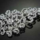 BRIDAL WEDDING BRIDE SILVER AURORA CLEAR RHINESTONE CRYSTAL VINTAGE HAIR COMB