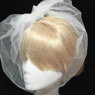 HANDMADE WEDDING BRIDAL BRIDES ORGANZA BRIDCAGE NET VEIL COVER FACE MASK & CLIP