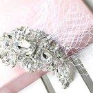 LARGE MOON WEDDING BRIDAL RHINESTONE CRYSTAL NET MASK HAIR CLIP PIN