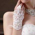 WHITE / OFF WHITE LACE WEDDING BRIDES SATIN FINGERLESS RHINESTONE SHORT GLOVES