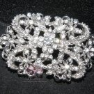 CLEAR RHINESTONE CRYSTALS VINTAGE STYLE RIBBON DRESS SASH BROOCH PIN