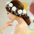 FAUX PEARL BRIDAL WEDDING BRIDES ACRYLIC RHINESTONE HAIR FLOWER ALLIGATOR CLIP