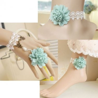 WHITE LACE BLUE FLOWER GOTH BEACH NECKLACE SLAVE BRACELET SET ANKLE CHAIN