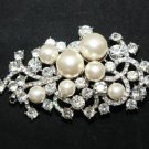 BRIDAL FLOWER BOUQUET CRYSTAL WEDDING FAUX PEARL RHINESTONE BROOCH PIN