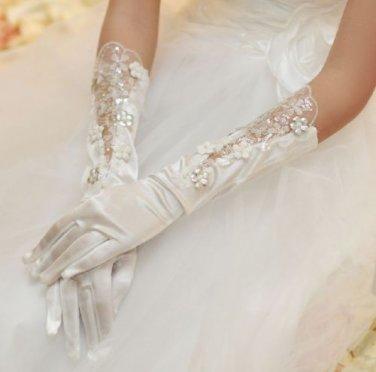 WHITE SILVER LACE WEDDING BRIDES SATIN RHINESTONE ELBOW GLOVES