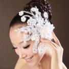 LACE BRIDAL WEDDING BRIDE SILK FLOWER PEARL APPLIQUE ALLIGATOR CLIP
