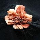 WEDDING BRIDAL FAETHER BLACK VEIL NET BROWN FLOWER HAIR CLIP BROOCH