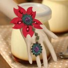FASHION GOTHIC PURPLE ROSE RED FLOWER SLAVE RING BLACK LACE BRACELET