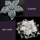 MIXED OF 2 WEDDING BRIDAL FLOWER STYLE RHINESTONE CRYSTAL TIARA HAIR COMB